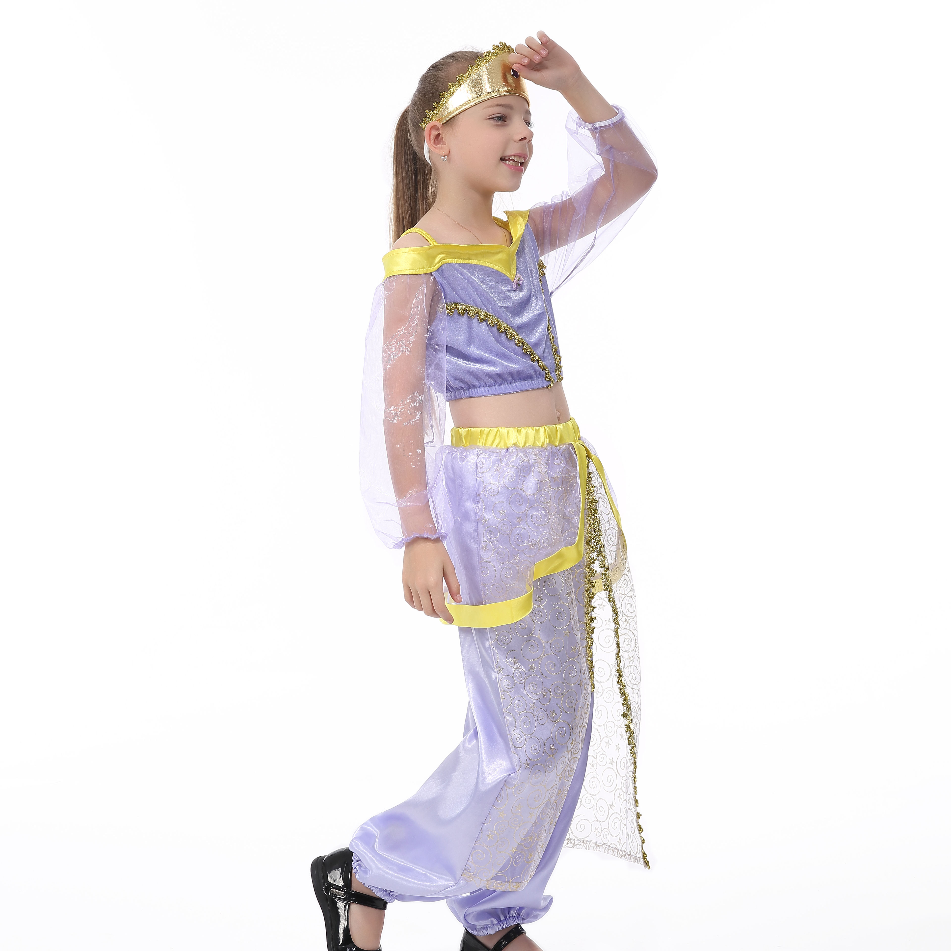 Halloween Costume Kids Girls African Princess Purple Costume Aladdin Movie--HSG19171