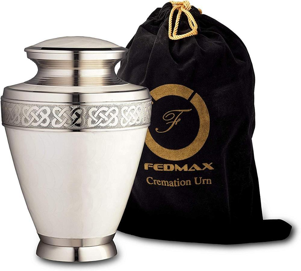 Cremation Urn for Ashes, for Adults up to 200lbs, White Funeral Burial Urns Made from Brass for Human Ashes