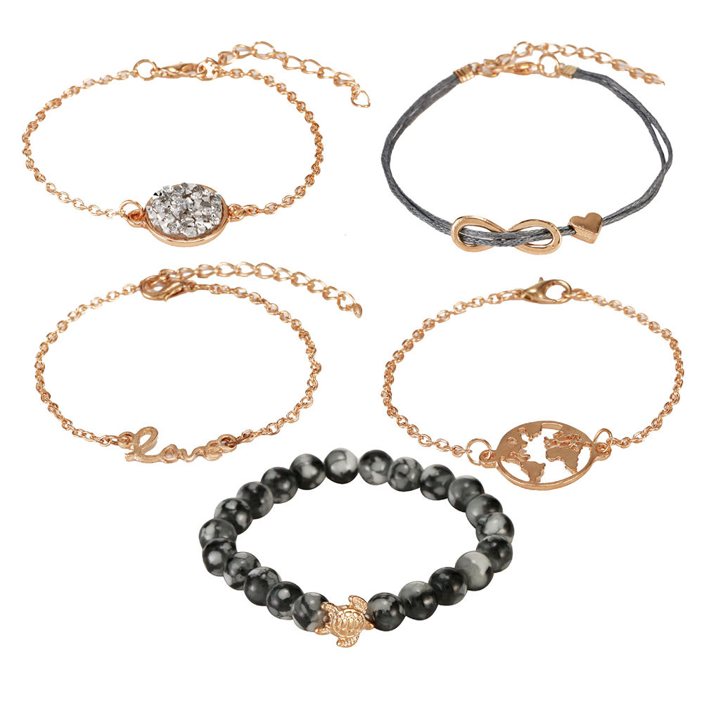 High quality Romantic fashionable, 5 Pieces Set Love Letter World Map Turtle Natural Bead Bracelet Jewelry For Women/