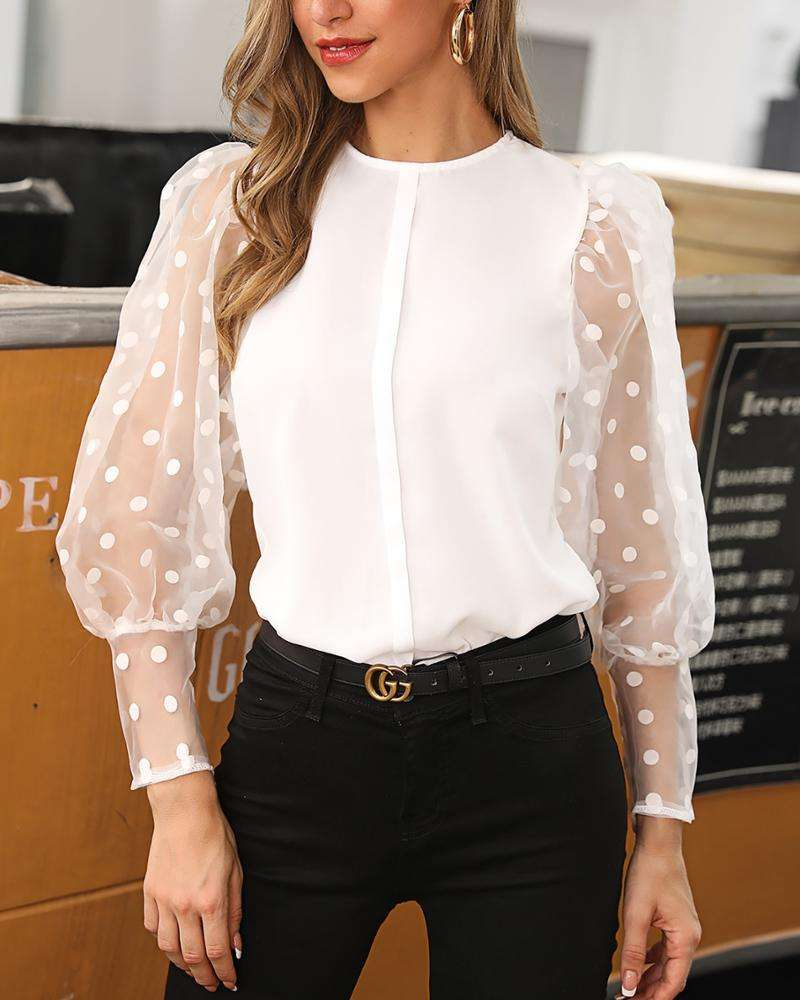 Women's Shirt Tops White Sexy Lantern Sleeve Dot Blouse Women 2019 Casual Chiffon Mesh Lace Transparent Blouses