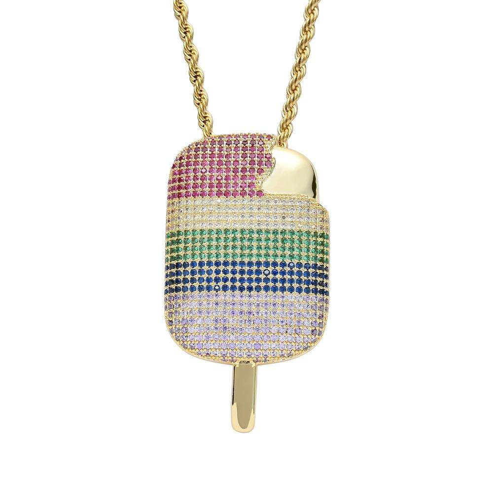 New Arrival Multi Colors CZ Micro Pave Setting Ice Cream Pendant Hiphop Jewelry Necklace