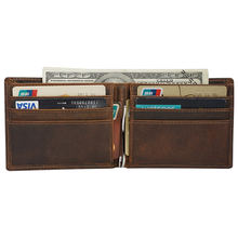 Tiding Custom Men Vintage Crazy Horse Genuine Leather Wallet With Cash Clip