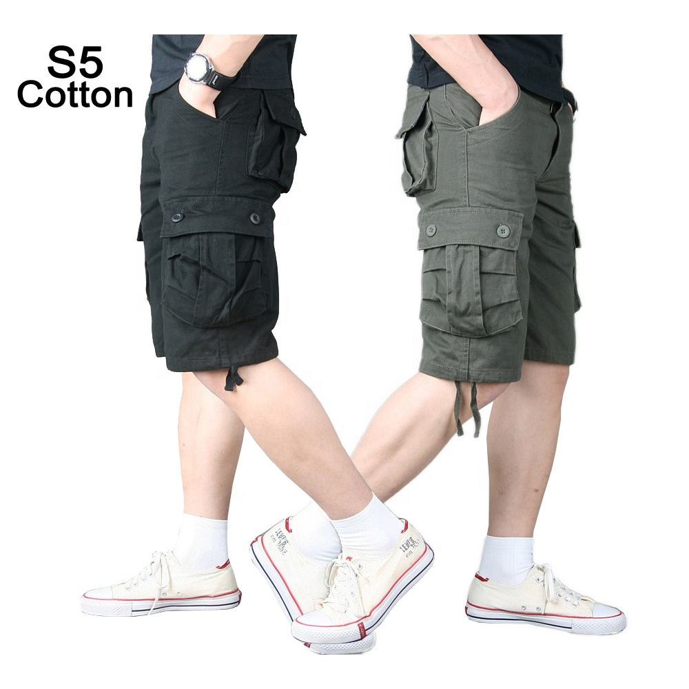 Men's Cotton Canvas Military Tactical Short Pants Army Fans Combat Hiking Hunting Multi Pockets Safari Cargo Pant Trousers