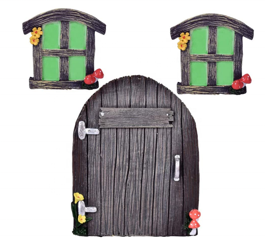 Miniature Fairy Gnome Home Window And Door for Tree Art Garden Art, Yard Art Garden Sculpture Decoration,Glow In The Dark