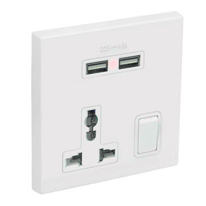 Universal Power USB Wall Switch Socket Outlet With USB