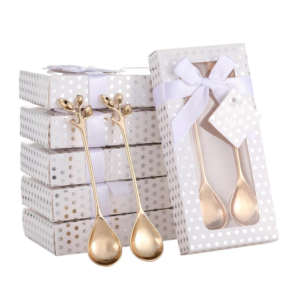 Wholesale Stainless Steel Leaf Drink Tea Coffee Spoon Souvenirs Return Gifts Coffee Spoons For Guest