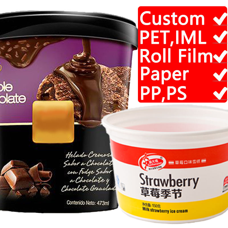 OEM Ice cream packaging solution for Disposable printed paper or plastic Cup lids Single wall paper cup cover spoon