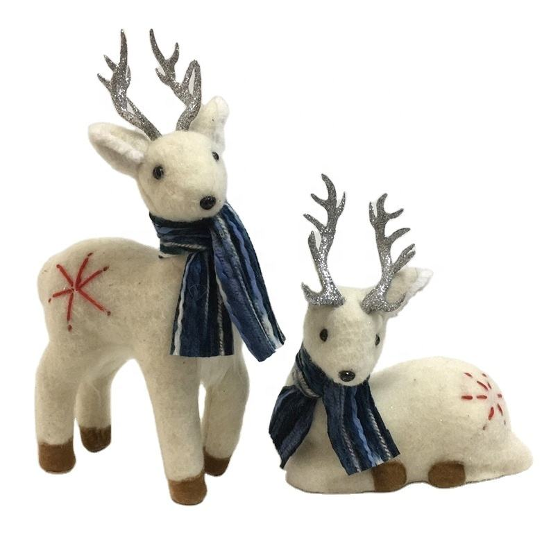 Indoor Natural Handmade Christmas Stage Decoration Craft Felt Deer W/Blue Scarf S/2