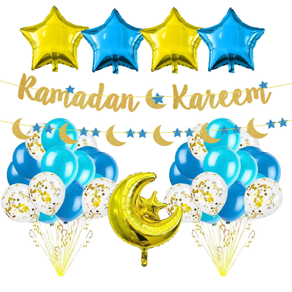 Pafu Eid Mubarak Festival Party Supplies Gold blue Glitter Ramadan Kareem Banner Star And Moon Balloon Garland Decorations