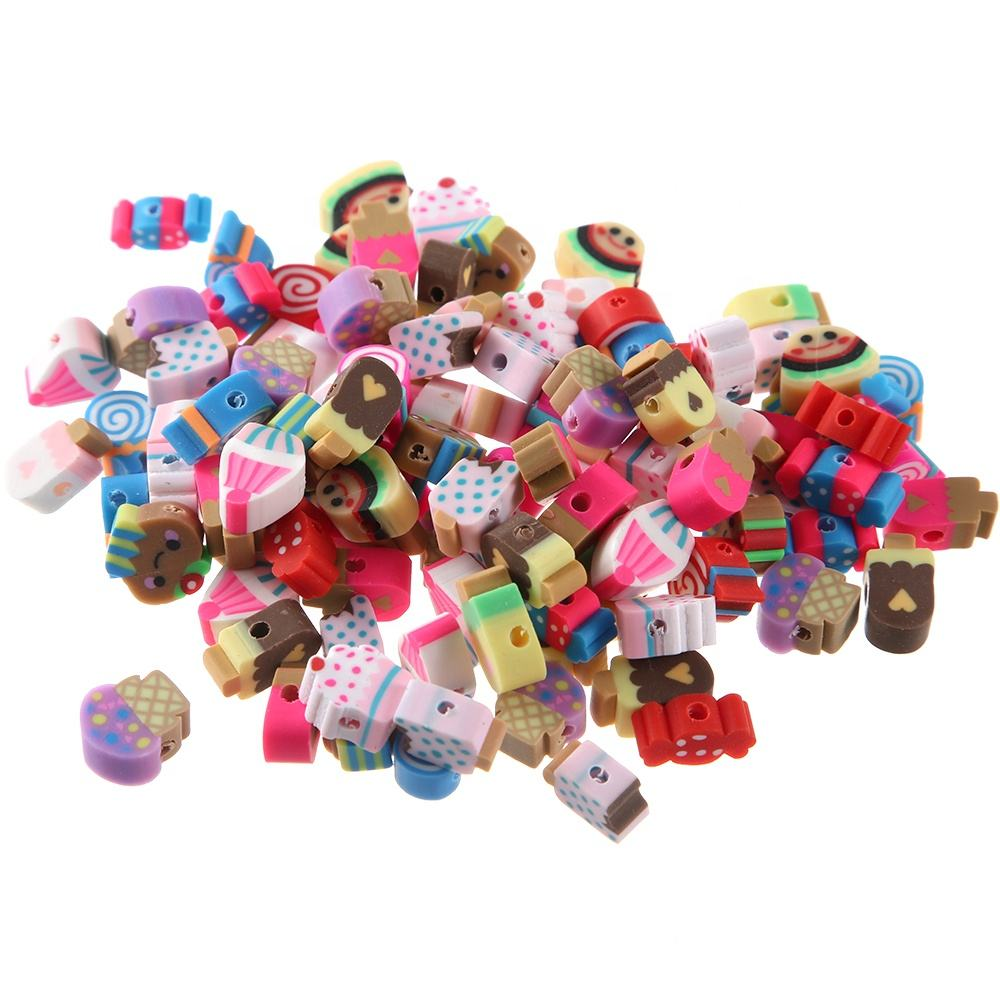 New10-14MM 1000pcs Mixed Design Cute Dessert Beads Polymer Clay Beads For DIY Jewelry Making