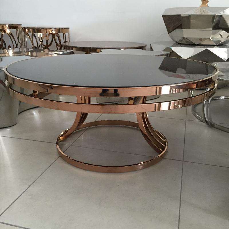 Gold Modern Design Glass Center Table Round Glass Coffee Table