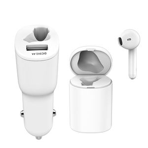 Wireless bluetooth single earbuds TWS truely stereo BT cordless earphone with car charger and rechargeable case