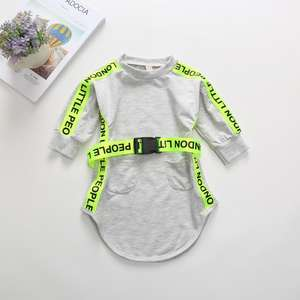Autumn Long Sleeve Alphabetic Belt Long Hoodies Dresses Long Sleeve Children Baby Girl Clothes Grey Dresses