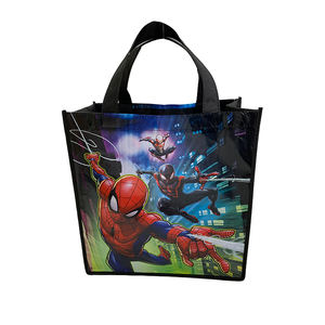 Mode cartoon kinder non woven printing recycle schwarz tote tasche