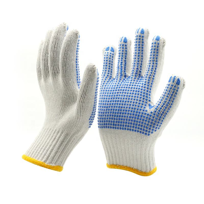 10G Natural White Cotton PVC dotted garden working gloves