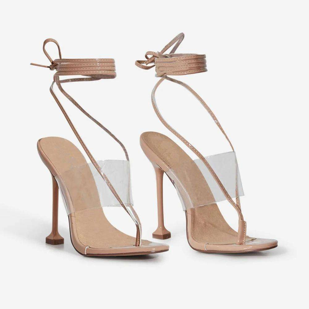 LM4920 Europe and the United States summer toe herringbone strap sandals transparent pvc fashion high heels women