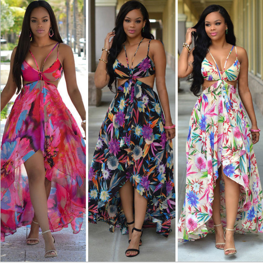 Bohemian style woman beach dress floral printed deep neck spaghetti strap maxi dress ladies sexy chiffon beach dress