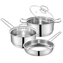 3Pcs Cookware Set Pots Pans Stainless Steel Cooking Pots Soup Pot Kitchenware Set For Kitchen Household Used