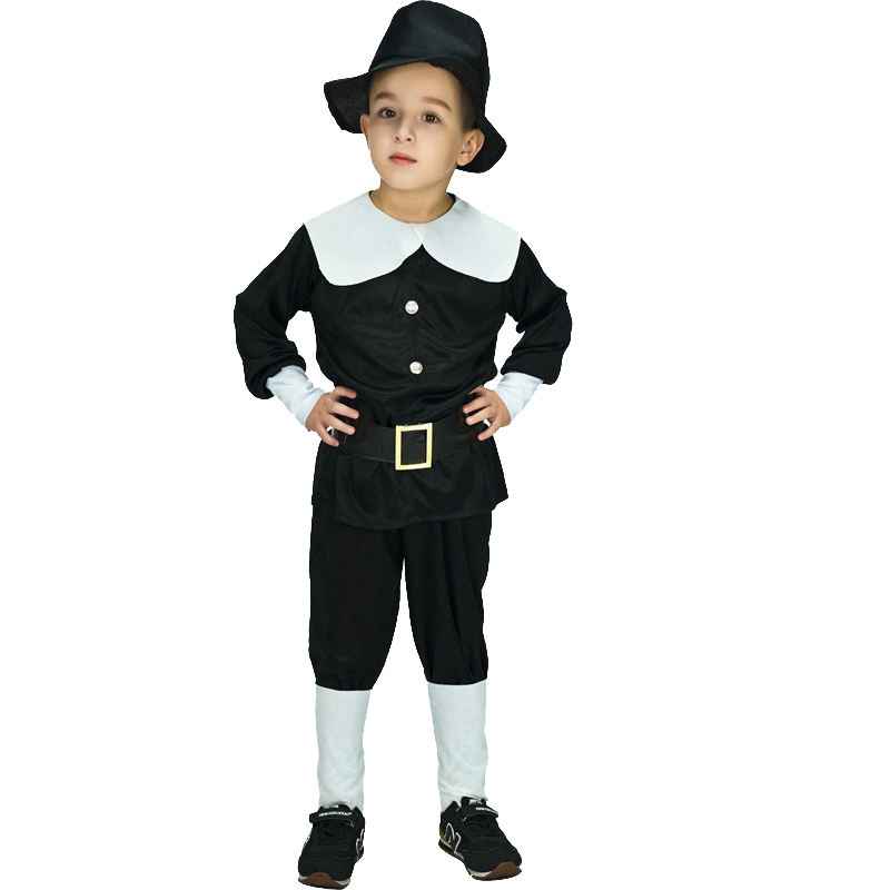 Hot Sale Carnival Masquerade Party Cosplay Pilgrim Costume Kids Pilgrim Costume For Boys