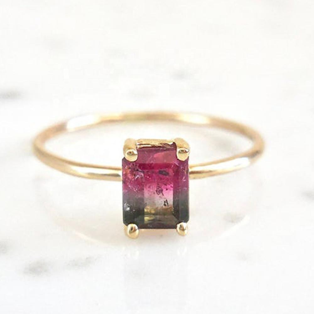 925 Sterling Silver Gold Plated Emerald cut Jewelry Dainty Watermelon Tourmaline Ring