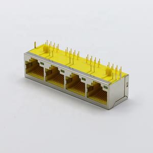 Hot Sale 1*4 4 Port Multi Port 8 Pin AMP RJ45 Modular Konektor RJ11 Jack Telepon Pin Bulat dengan LED