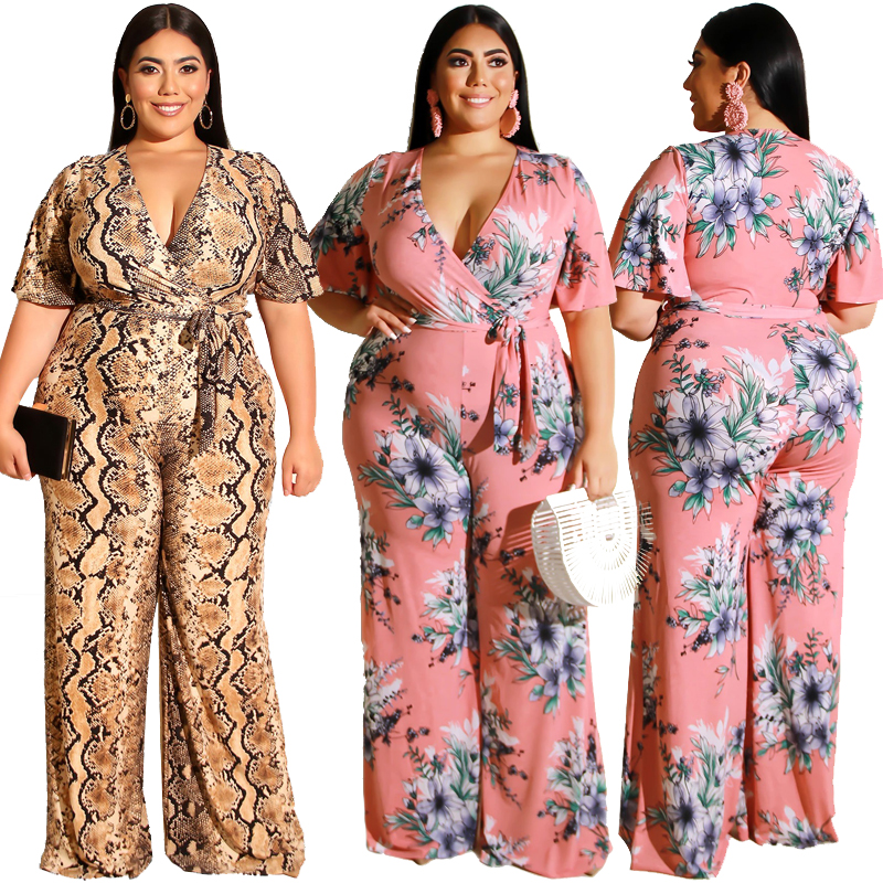 New arrivals -19230 New women plus size jumpsuits 5XL women's sexy v-neck printed big size clothes