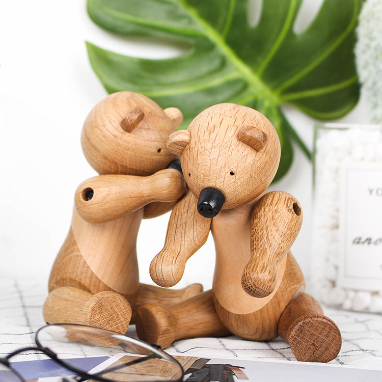 nordic kids toy wooden bear craft decoration figurine for Animal crafts creative wood small little bear ornament
