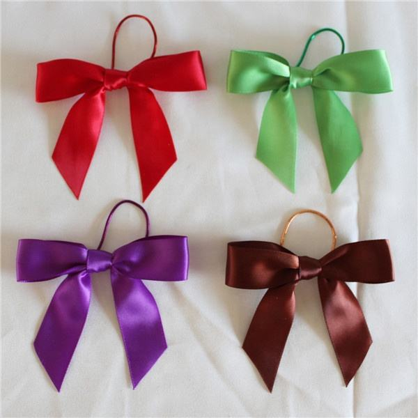 pre made elastic satin ribbon bow for bottle packing/brown satin ribbon bow/satin tartan ribbon bows
