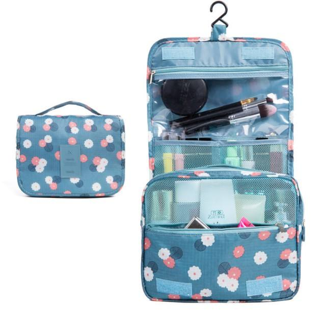 Fashionable digital printing large capacity hanging pouch waterproof cosmetic bag for washing room bathroom