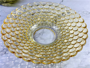 Factory Cheap Price Customized Glass Acrylic Plate Fruit Luxury Dinner Beaded Wedding Borosilicate Glass Plate Set