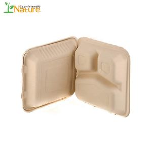 Amazon Set Bagasse Pulp Take Away Container Compostable Lunch Box