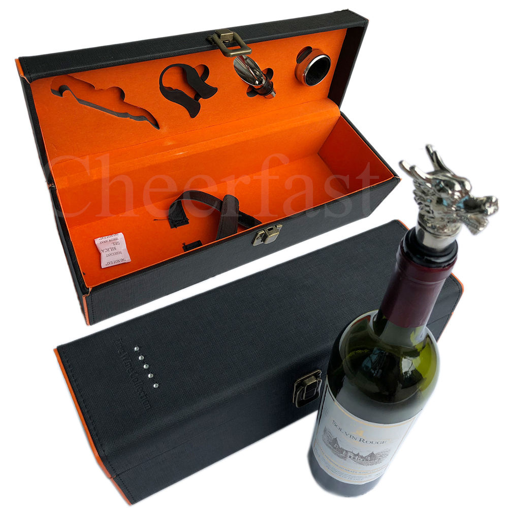 Black Gift Package Leather Single Bottle Box For Wine