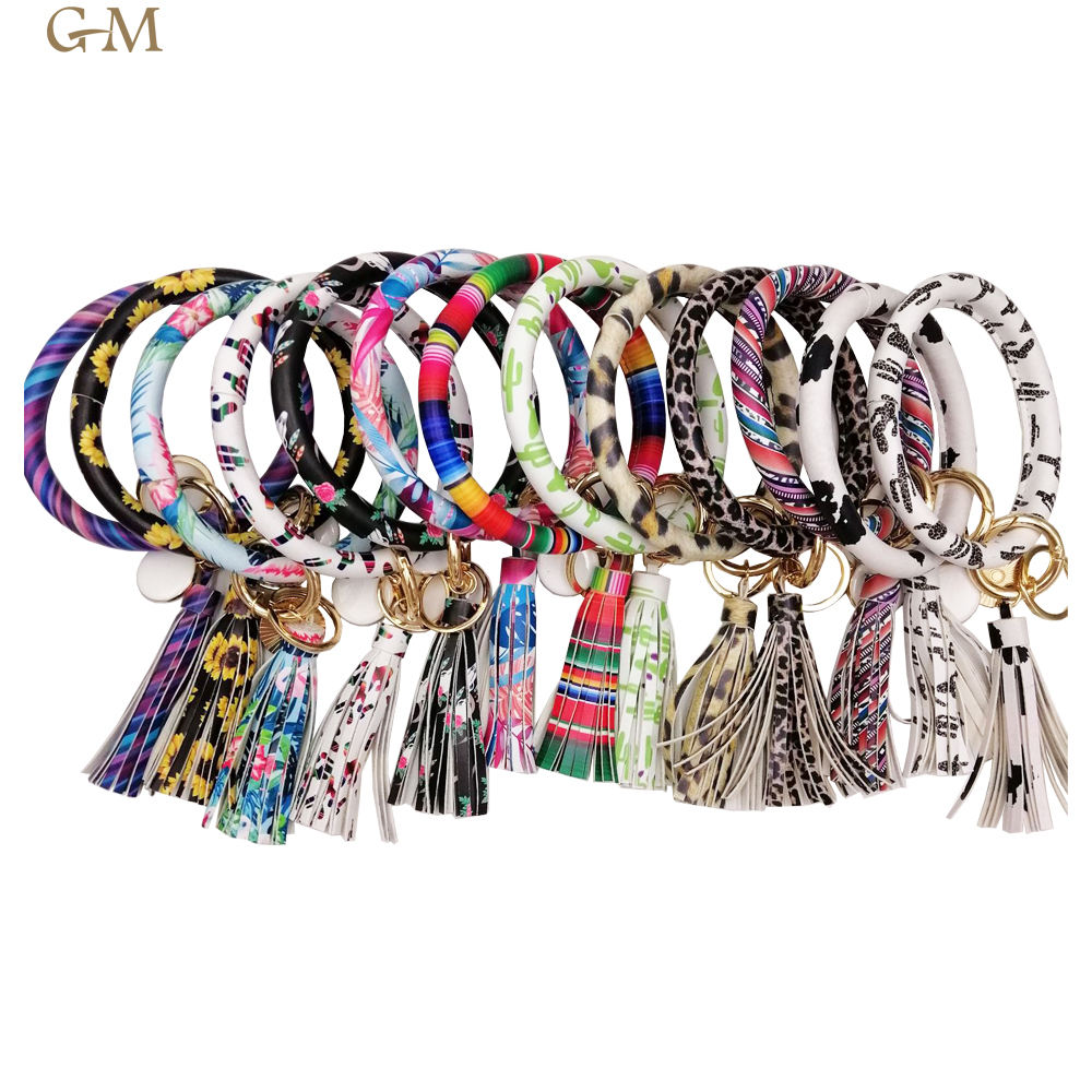 Lilly leather big O bracelet key ring with tassel monogrammed disc Bangle keychain wofish jewelry