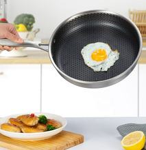 Non Stick 3 layers Stainless Steel frying pan 26cm non stick honeycomb triple fry pan