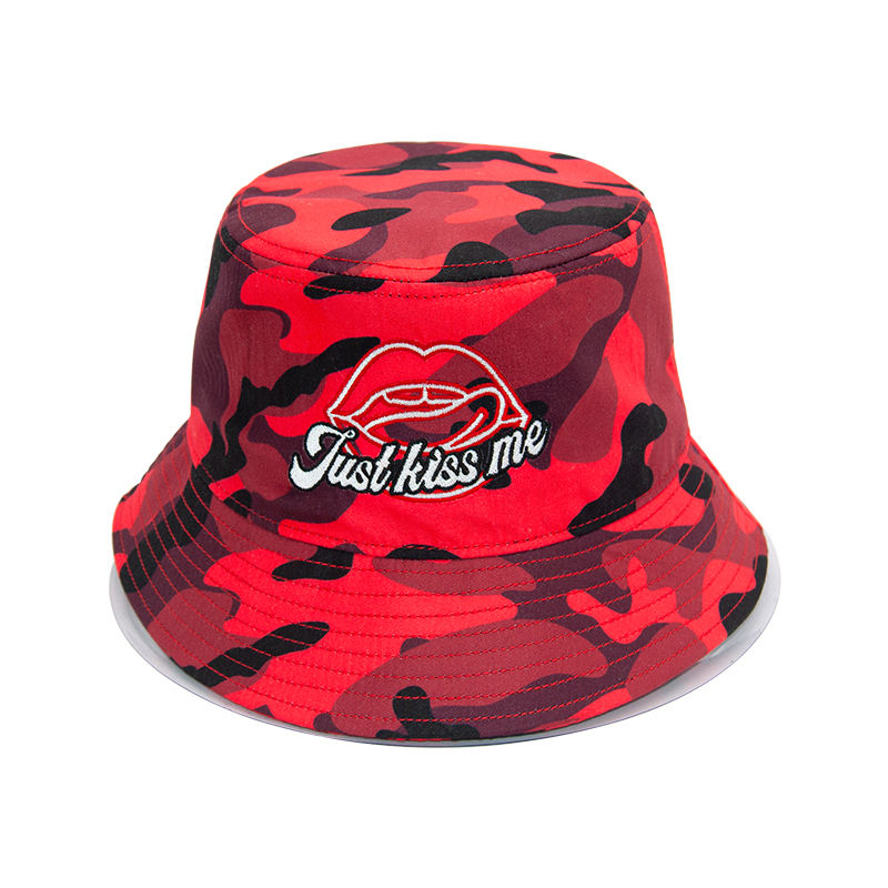 "wholesale custom 100% polyester red camouflage bucket hat with applique embroidery ""Superbass"" logo"