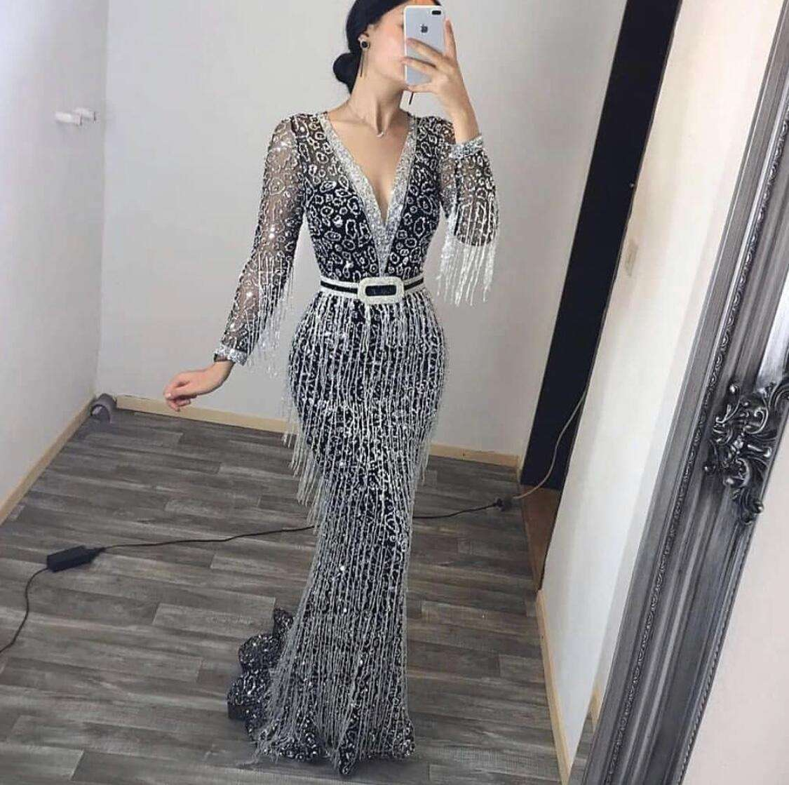 Sequin Tassel Dress Formal Luxury Gown Party Elegant Ladies Long Sleeve Sexy Women Evening Dresses