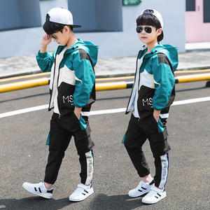 Z82623B korean style casual children boys clothes clothing sets kids sports wears set