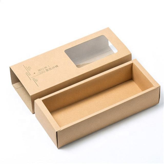 Wholesale Custom Outer CMYK Printing 350gsm Kraft Paper Gift Tea Paper Packing Inner Size 17*5*7cm Drawer Box With PVC window