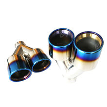 GRWA in stock stainless steel 304 titanium plated blue burnt universal dual exhaust tip