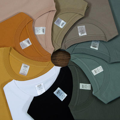OEM Service Heavyweight 250GSM Cotton Tshirt Multicolor Men Basic Tshirts