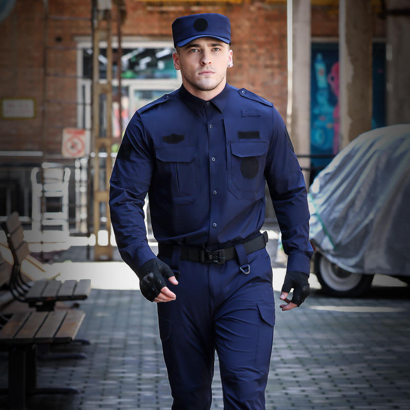 Custom High Quality Security Airport Hotel Guard Uniform Police Clothes Black Security Guard Uniforms