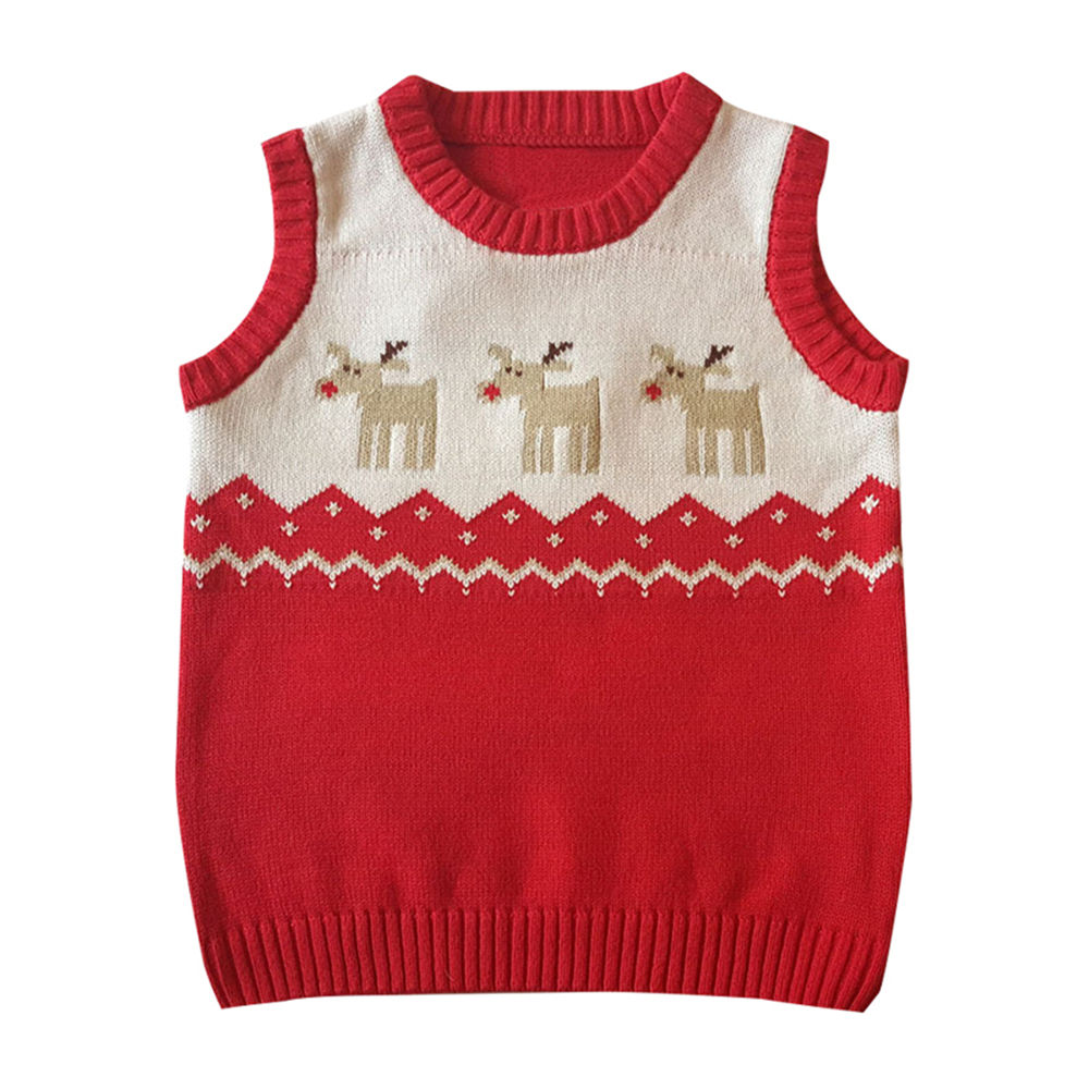 Mudkingdom Sleeveless Jumper Kids Vest Red Cute Lovely Boys Christmas Sweater