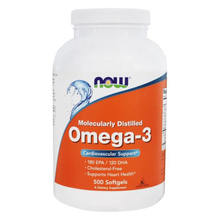 NOW Foods Omega-3 Molecularly Distilled Fish Oil , 500 Softgels