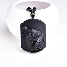 Natural Black Obsidian Carving Wolf Head Amulet pendant  necklace obsidian Blessing Lucky pendants fashion Jewelry HYSD9