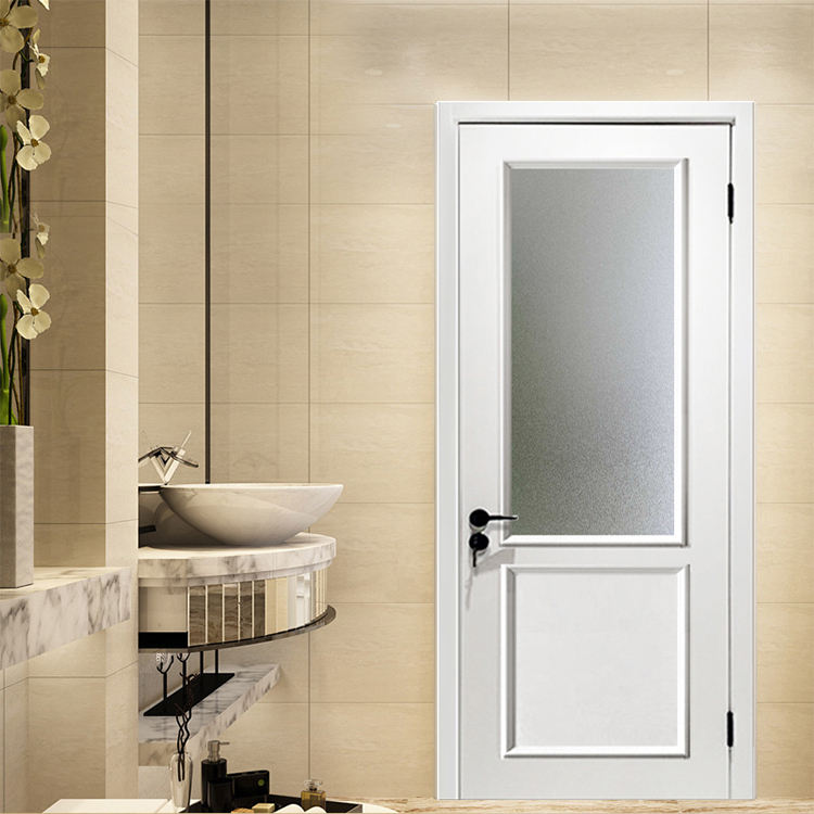 Bathroom Prettywood Latest Waterproof PVC Interior Frosted Glass Wooden Door Price