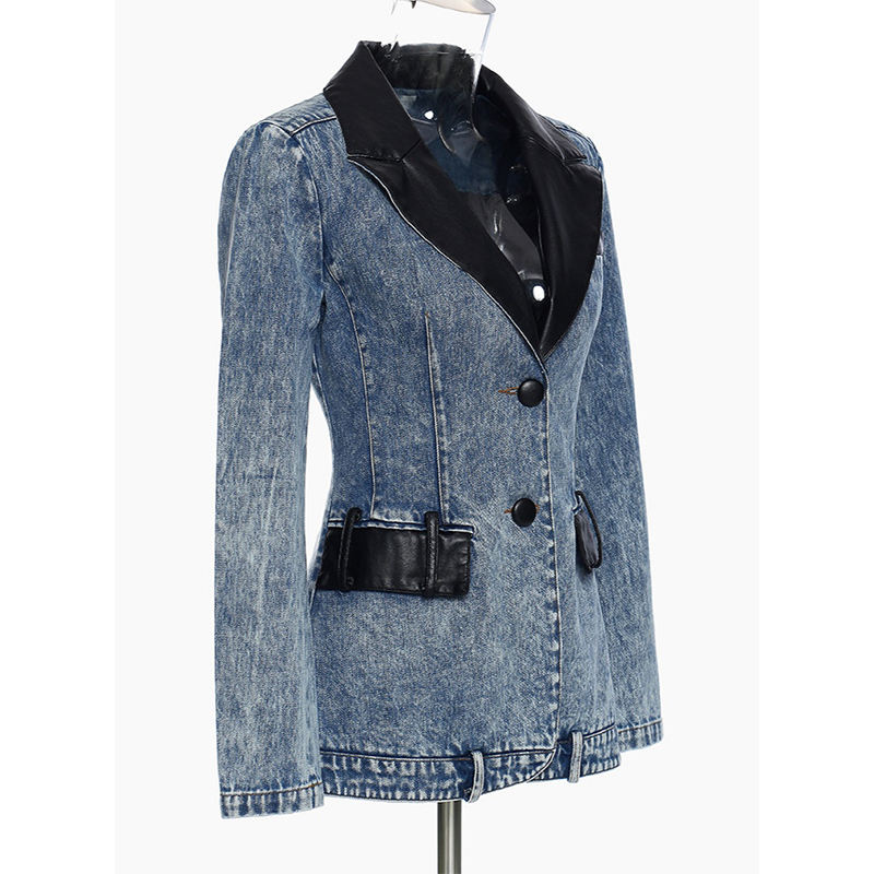Washed denim and PU leather women's blazer elegant and generous ladies' denim blazer wholesale