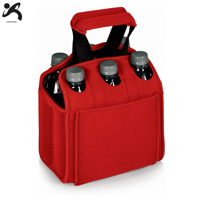 2019 Factory Hot Sell Neoprene Insulated Six 6 Pack Beer Bottle Cooler Tote Carrier Holder