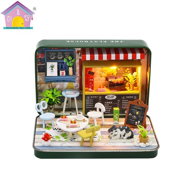 Beautiful tin box theater design diy miniature mdf wooden dollhouse