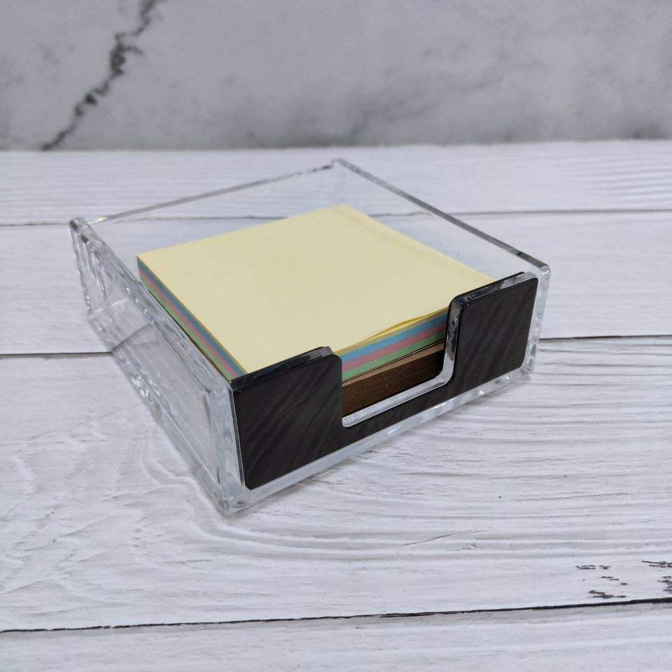 New Design Clear Memo Pad Doos Acryl Sticky Notes Box Te Koop