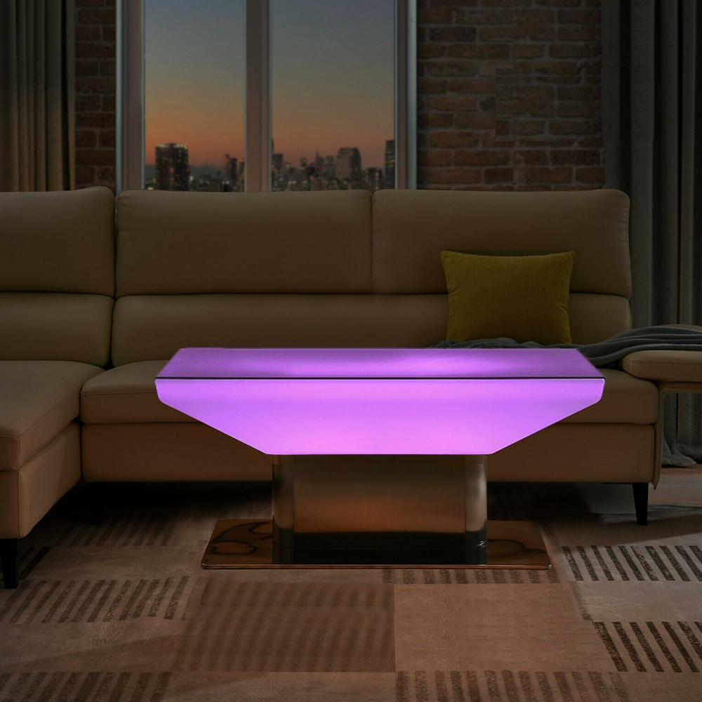 remote rgb color changing led night club coffee table with stainless steel stand portable plastic illuminated led lounge table
